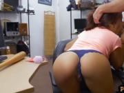 Sexy babe screwed by horny pawn keeper in his pawnshop