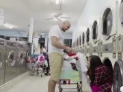 Annika gets fucked in the laundry shop