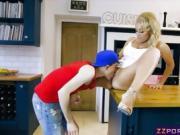 Gamer guy fucks his friends busty blonde MILF mom