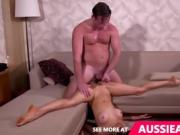 Hot skinny girl fucked on couch by lover