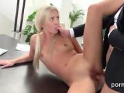 Beautiful young secretary takes it from behind