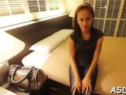 Tight Thai babe fondles herself