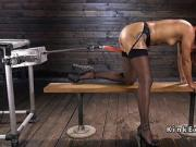 Ebony in stockings pounding machine