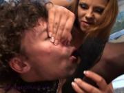 Two cruel mistress hard dominate slave.