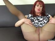 English milf Tanya Cox prefers tights without knickers