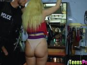 Mila Marx got her pussy ripped by the officer