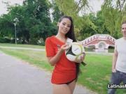 Latina soccer fan rides hard cock for cash