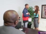Black dudes fuck horny redhead MILF