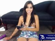 hot latina playing with toys on cam