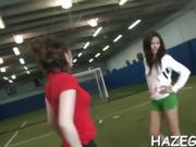 Sex appeal lesbian babes caress each other and use toys