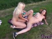 Blonde latex Hot lezzies going on a picnic
