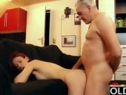 Teen cumslut hard fucked by old horny man in her pussy