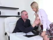 Natural schoolgirl was seduced and screwed by her older schoo