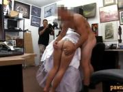 Babe in wedding dress sucks off and banged by pawn man