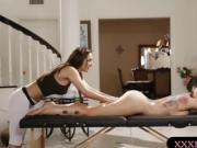 Busty milf and sexy masseuse lesbian sex on masage table