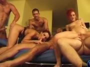 Horny milfs Lill and Bea having fun in gangbang