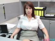 Busty ginger stepmom tugging and titfucking