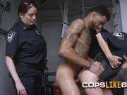 Milf cops take turns on making suspect fuck them hard