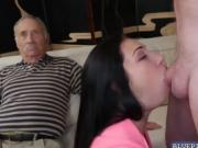 Brunette hottie Crystal Rae fucks with a grandpa