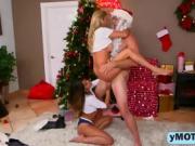 Alexis Fawx, Sophia Leone with a Santa