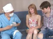 Stud assists with hymen checkup and plowing of virgin kitten