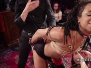Black and white slaves at orgy bdsm party