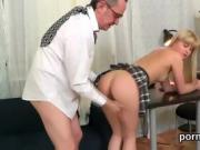 Lovely college girl gets tempted and banged by her older scho