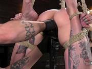 Hogtie suspension and pussy torment for alt slave