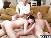 Teen Gives Head And Rides Old Stud Cock On Floor