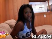 Alluring black sweetheart shows off her bubble ass on camera
