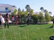 Group of swingers play nasty game and blowjob outdoors