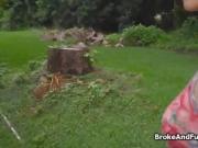 Fucking broke brunette teen outdoors