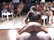 Brunette sucks and fucks a guy in front of other women
