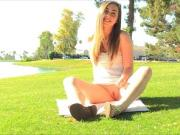 Sweet amateur hottie Lacey teasing trimmed cunt at a picnic