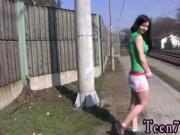 Nubiles teen dildo hd Masturbating at the train station