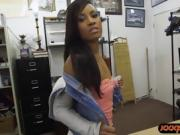 Hot Ebony banged by nasty pawn guy for the golf clubs