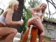 Unusual lesbians fill up their big arses with cream and squir