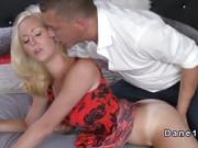 Slim blonde holds dicks while fucking