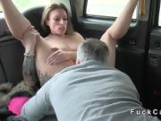 In quiet public place cab driver fucks