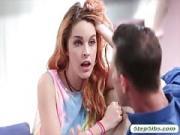 Pretty redhead teen Amarna Miller banged deep by stepdad