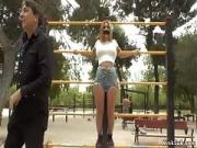 Hot Slaves Disgraced in Public Park Gym