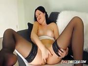 Lovely Ebony Haired Beauty Self Pleasuring Display on Webcam