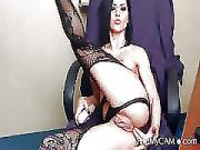 MILF in Stockings Poking Her Anal Hole on Cam