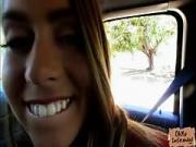 Fresh looking teen Jill Kassidy drilled in the car