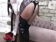 Schoolgirl Angel in Mum Hot Leather Boots
