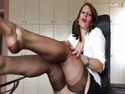 German Mistress Anett Larmann in Ebony Stockings Solo