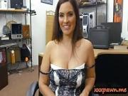 Woman flashes her big tits and screwed by pawn keeper