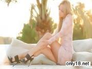 Beautiful teen Ulyana enjoys outdoor orgasm