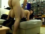 dark hair chick Has Doggystyle And Missionary Sex On The Sofa