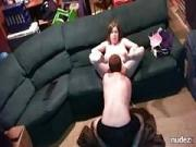 Chubby milf gets licked and drilled on spycam